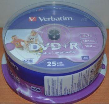 Медиа DVD+R Verbatim 4.7Gb 16x Printable Cake 25