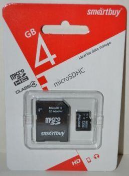 Карта памяти micro-SD 4Gb Smartbuy (Class 4) + SD адаптер