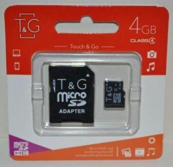 Карта памяти micro-SD 4Gb T&G (Class 4) + SD адаптер