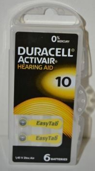 Батарейки Duracell ZA10 (PR70) блистер 1х6шт (д/слух.апар) /6/60/