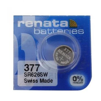 Часовая батарейка Renata 377 (SR-626SW, SR-66) AG4 блистер 1х10шт /1/10/100/