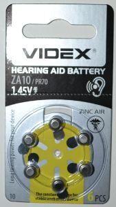 Батарейки для слуховых аппаратов Videx ZA10 (PR70) блистер 1х6шт /6/60шт.