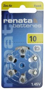 Батарейка Renata ZA10 (PR70) для слуховых аппаратов /6/60шт.