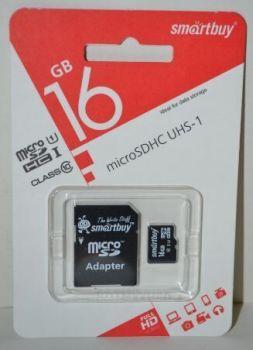 Карта памяти micro-SD 16Gb Smartbuy (Class 10) + SD адаптер