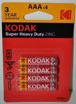 Батарейки KODAK EXTRA HEAVY DUTY R-03 блистер 1х4шт /4/48/240/