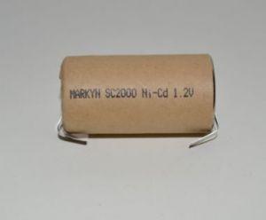 Акк Markyn SC 2000mAh 1,2V Ni-Cd + контакты 1х1шт (D=22,5; L=43,0mm)