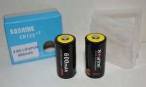 Аккумуляторы Soshine RCR-123A (16340/17335) 600mAh 3V LiFePO4 коробка 1х2шт