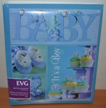 Анкетный фотоальбом EVG на 56 фото 10х15 Baby collage Blue (RU)