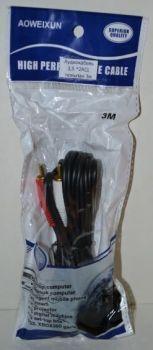 Аудио-кабель 3,5 jack *2RCA тюльпан 3м