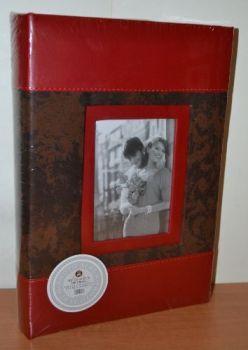 Фотоальбом на 300 фото 10х15 с местом для записей L079 кожзам+бархат (коричневый)