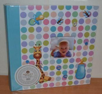 Детский фотоальбом на 200 фото 10х15 с местом для записей, L106 (голубой)