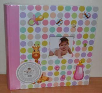 Детский фотоальбом на 200 фото 10х15 с местом для записей, L106 (розовый)