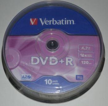 Медиа DVD+R Verbatim 4.7Gb 16x Cake 10