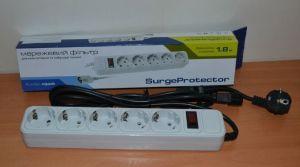 Сетевой фильтр Gembird Surge Protector 1,8m grey /1/
