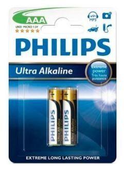 Бат Philips Ultra Alkaline LR-03 блистер 1х2шт