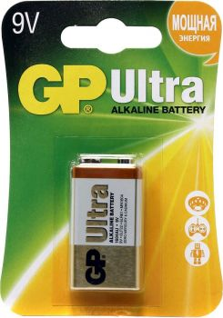 Батарейка GP Ultra Alkaline 6LR61 (крона) блистер 1х1шт /1/10/