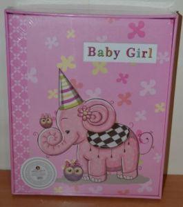 Анкетный фотоальбом 220 фото детский хронология на укр язе в коробке L126 (розовый)