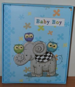 Анкетный фотоальбом 220 фото детский хронология на укр язе в коробке L126 (голубой)