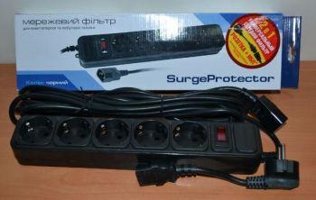 Сетевой фильтр Gembird Surge Protector 4,5m black /1/