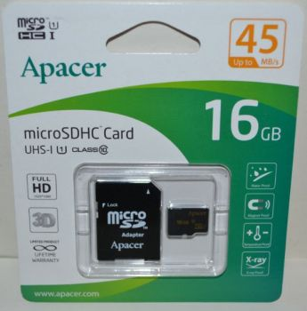 Карта памяти micro-SD 16Gb APACER (Class 10) + SD адаптер