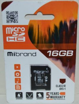 Карта памяти micro-SD 16Gb Mibrand (Class 10) + SD адаптер
