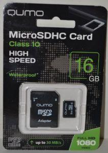Карта памяти micro-SD 16Gb QUMO (Class 10) с SD адаптером