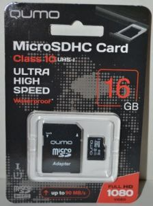 Карта памяти micro-SD 16Gb QUMO UHS1 (90 Mb/s)  + SD адаптер