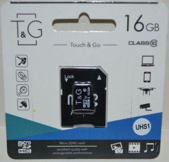 Карта памяти micro-SD 16Gb T&G (Class 10) + SD адаптер