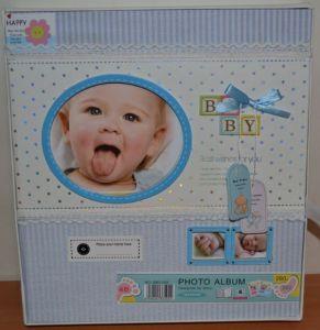Анкетный фотоальбом 150 фото детский на англ язе в коробке BB-3505 (голубой)