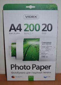 Ф/бумага Videx 200g A4 20л глянец