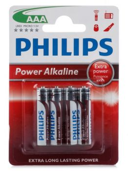 Батарейки Philips Power Alkaline LR-03 блистер 1х4шт /4/48/144/