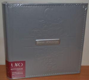 Фотоальбом на 200 фото 10х15 с местом для записей UFO Grey кожзам