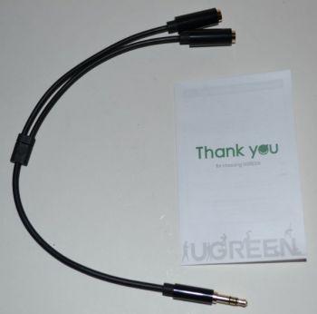 Аудио-кабель UGREEN AV134 3,5 jack (папа) на 2*3,5 jack (мама) 25см