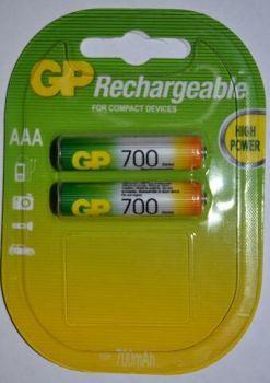 Аккумулятор GP НR-03 700mAh Ni-MH блистер 1х2шт /2/20/