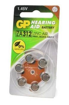 Батарейка GP ZA312 (PR41) для слуховых аппаратов /6/60шт.