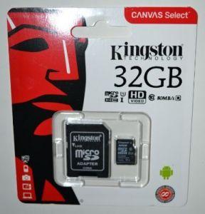 Карта памяти micro-SD 32Gb KINGSTON (Class 10) + SD адаптер (80Mb/s)