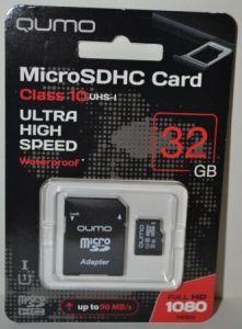 Карта памяти micro-SD 32Gb QUMO (Class 10) + SD адаптер