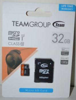 Карта памяти micro-SD 32Gb TEAM (Class 10) + SD адаптер (80Mb/s)