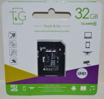 Карта памяти micro-SD 32Gb T&G (Class 10) + SD адаптер