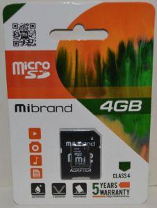 Карта памяти micro-SD 4Gb Mibrand (Class 4) + SD адаптер