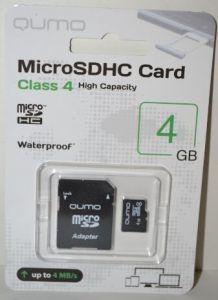 Карта памяти micro-SD 4Gb QUMO (Class 4) + SD адаптер