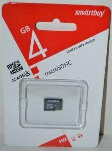 Карта памяти micro-SD 4Gb Smartbuy (Class 4)