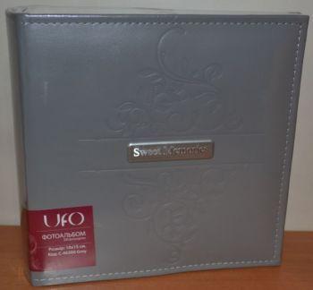 Фотоальбом на 300 фото 10х15 с местом для записей UFO Grey кожзам