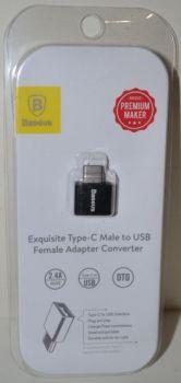 Адаптер Baseus Type C (папа) на USB (мама) black