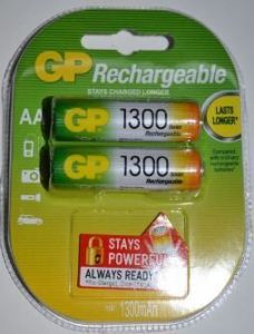 Аккумуляторы GP НR-6 1300mAh Ni-MH блистер 1х2шт /2/20/