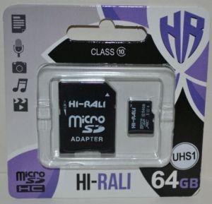 Карта памяти micro-SD 64Gb Hi-Rali (Class 10) + SD адаптер
