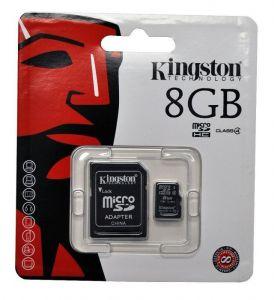 Карта памяти micro-SD 8Gb KINGSTON (Class 4) + SD адаптер