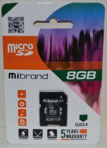 Карта памяти micro-SD 8Gb Mibrand (Class 4) + SD адаптер