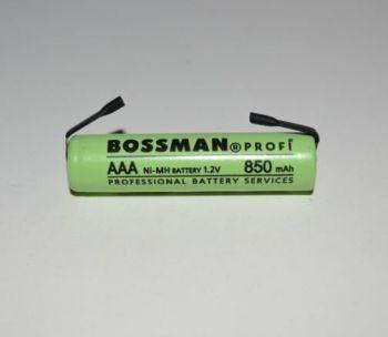 Аккумулятор Bossman AAA 850mAh 1,2V Ni-Mh (d=10; l=43mm) + контакты