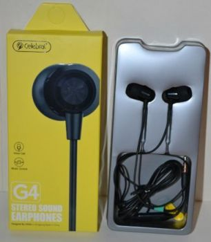 Вакуумные наушники с микрофоном Celebrat G4 black